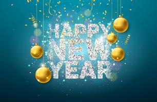 Illustrazione di felice anno nuovo con tipografia scintillante lucido vettore