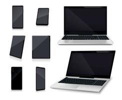 set realistico di modelli di smartphone per laptop vettore
