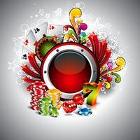 Vector l'illustrazione su un tema del casinò con spazio per il vostro testo e gli elementi di gioco