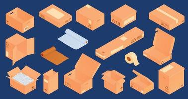 set di scatole di cartone isometriche vettore