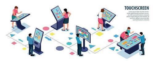 infografica utenti touchscreen interattivi vettore