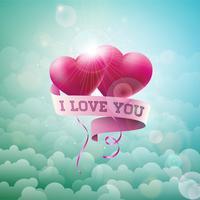 Ti amo Design di San Valentino con cuori di palloncino rosso vettore