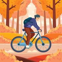 attività in bicicletta in autunno vettore