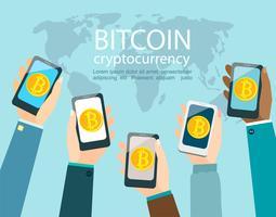 Mani con smartphone con simbolo bitcoin. vettore