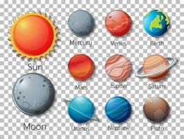 insieme di pianeti del sistema solare isolati vettore