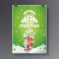 Illustrazione di buon Natale e felice nuovo anno 2017 vettore