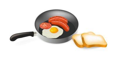uova fritte con salsiccia e pomodori in padella e pane vettore