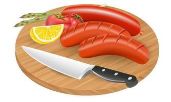 piatto di salsicce cucina vettore