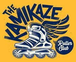 kamikaze rolling club design grunge vettore