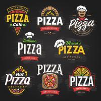 Emblemi di pizza vettore