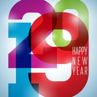 2019 illustrazione di felice anno nuovo con coriandoli che cadono vettore