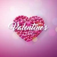 Disegno di San Valentino con cuore rosso su sfondo lucido. vettore