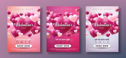 Fondo di vendita di giorno di biglietti di S. Valentino con cuore rosso