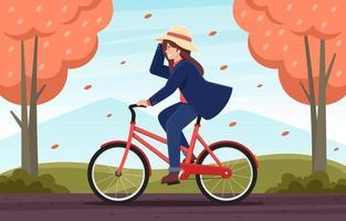 attività ciclistica durante la stagione autunnale vettore