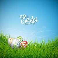 Illustrazione di vacanza di Pasqua felice vettore