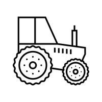 Icona di linea nera del trattore vettore