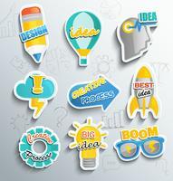 Set di icone di carta per il business.