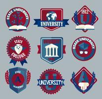 Insieme di vettore dei distintivi della scuola universitaria e dell'università.