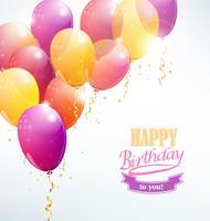 Buon compleanno con carta palloncino vettore