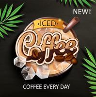 Simbolo di caffè freddo con cubetti di ghiaccio.