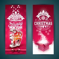 Illustrazione di banner di buon Natale vettore