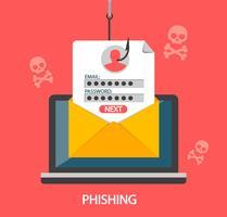 Accesso di phishing e password sul gancio di pesca.Vettore vettore
