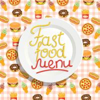Menu fast food con piatto.