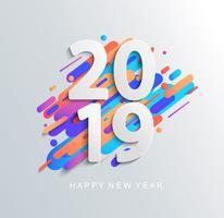 Scheda di disegno del nuovo anno 2019 su sfondo moderno. vettore