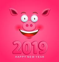 Carino biglietto di auguri per il 2019 del nuovo anno con la faccia di maiale vettore