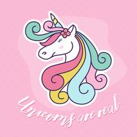 Progettazione sveglia dell'illustrazione del personaggio dei cartoni animati dell'unicorno.