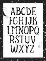 Alfabeto monocromatico in bianco e nero.