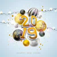 2019 illustrazione di felice anno nuovo vettore
