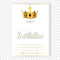 Carta o invito con una corona realistica vettore