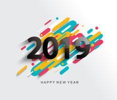 Scheda del nuovo anno 2019 su sfondo moderno. vettore