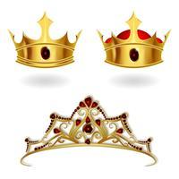 Una serie di corone d'oro realistiche e una tiara vettore