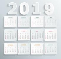 Calendario semplice per il 2019 anno.