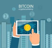 Mani con compresse con simbolo bitcoin. vettore