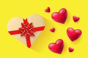 Carta da parati festiva decorata con cuori e regali vettore
