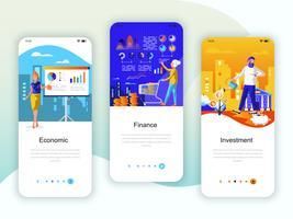 Set di kit di interfaccia utente per schermi onboarding per Economia, Finanza, Investimenti