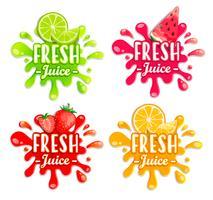 Set di diversi schizzi di frutta. vettore