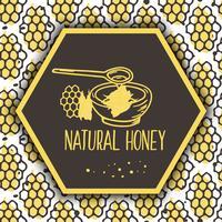 Vector banner di miele naturale. Set disegnato a mano bio.