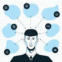 uomo d'affari disegnato a mano con concetto di mappatura mentale vettore