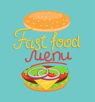 Menu fast food vettore