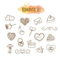Illustrazioni romantiche Set da sposa disegnato a mano. Doodle elementi di stile per un felice San Valentino. vettore
