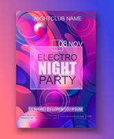 Volantino o banner per la festa dell'electro night. vettore