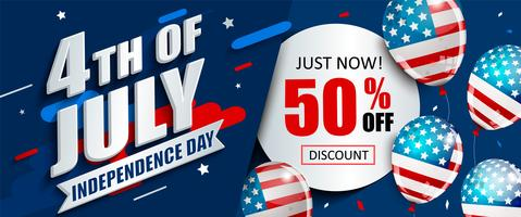 50 per cento di sconto sul banner di vendita per il Giorno dell'Indipendenza.