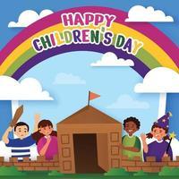 sfondo per la festa dei bambini con castello di cartone vettore