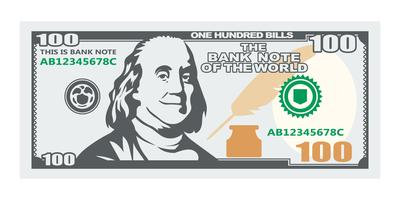 Cento banconote con presidente sorridente vettore