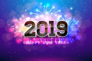 Illustrazione di felice anno nuovo 2019 vettore