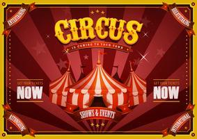 Poster vintage del circo con la parte superiore grande